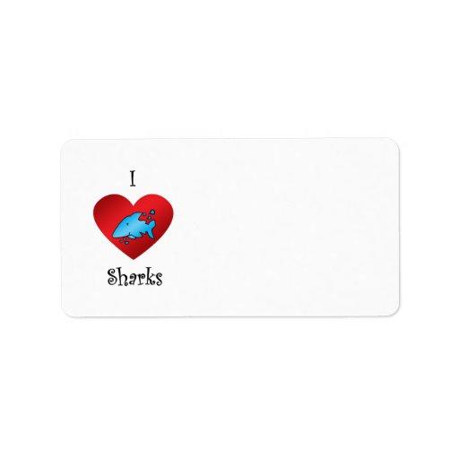 I heart sharks in blue address label