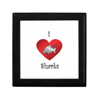 I heart sharks in gray jewelry boxes