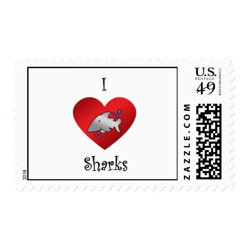 I heart sharks in gray postage stamps