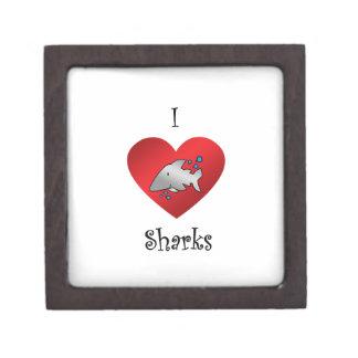 I heart sharks in gray premium gift box