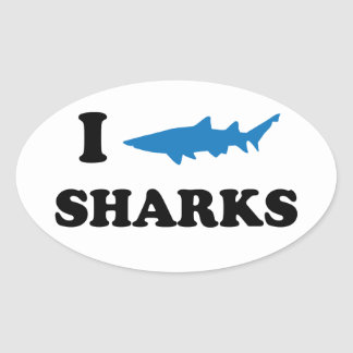 I Heart Sharks Oval Sticker