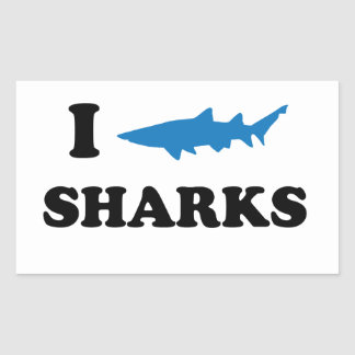 I Heart Sharks Rectangular Sticker