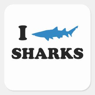 I Heart Sharks Square Sticker