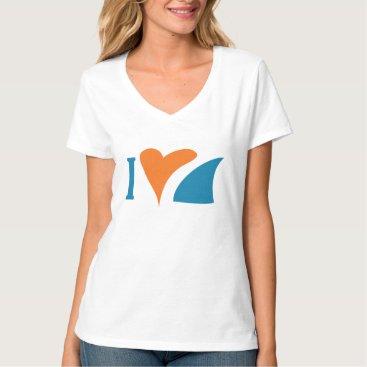 Valentines Themed I Heart Sharks V-Neck T-Shirt