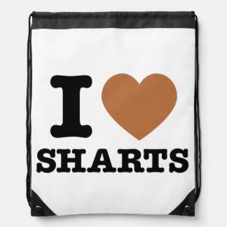 I Heart Sharts Funny Graphic Drawstring Backpack