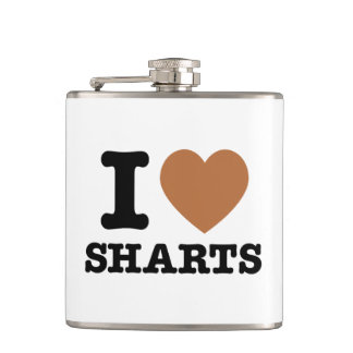 I Heart Sharts Funny Graphic Flask