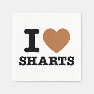 I Heart Sharts Funny Graphic Standard Cocktail Napkin