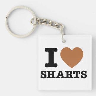 I Heart Sharts Funny Icon Graphic Single-Sided Square Acrylic Keychain