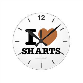 I Heart Sharts Round Clock