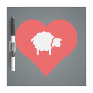 I Heart Shearing Sheep Icon Dry Erase Boards