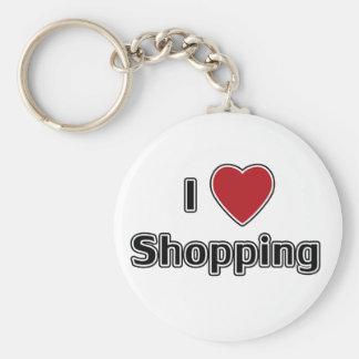 I Heart Shopping Basic Round Button Keychain