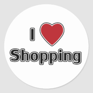 I Heart Shopping Classic Round Sticker