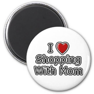 I Heart Shopping with Mom 2 Inch Round Magnet