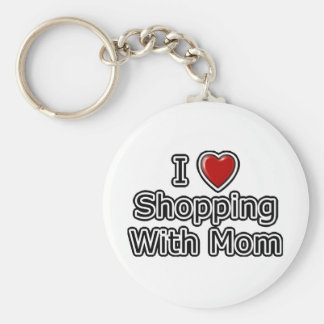 I Heart Shopping with Mom Basic Round Button Keychain