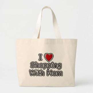 I Heart Shopping with Mom Large Tote Bag