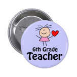 I Heart Sixth Grade Teacher Button
