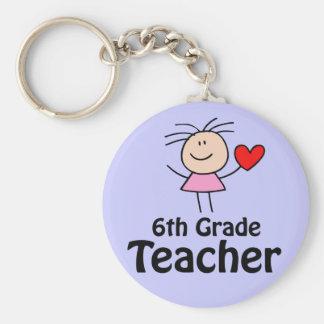 I Heart Sixth Grade Teacher Keychain
