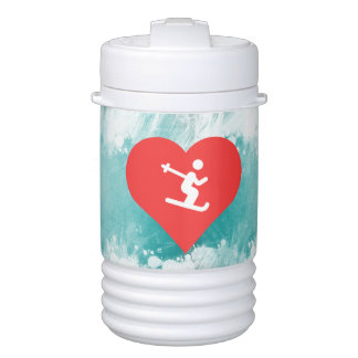 I Heart Skiing Icon Cooler