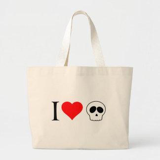 i heart skulls tote bags