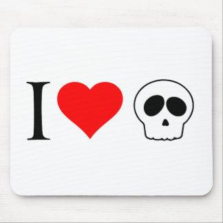 i heart skulls mouse pad