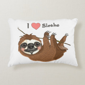 I Heart Sloths Baby Animal Decorative Pillow