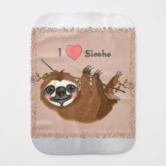 I Heart Sloths Baby Animals Baby Burp Cloth