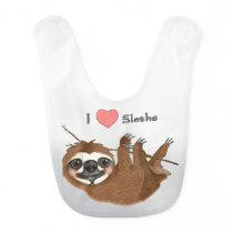 I Heart Sloths Baby Animals Bib