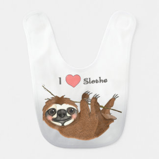 I Heart Sloths Baby Animals Bib