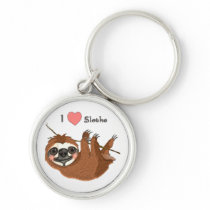 I Heart Sloths Baby Animals Keychain