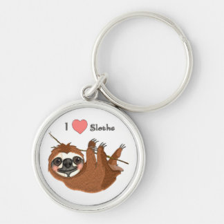 I Heart Sloths Baby Animals Silver-Colored Round Keychain