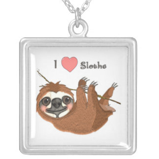 I Heart Sloths Baby Animals Square Pendant Necklace