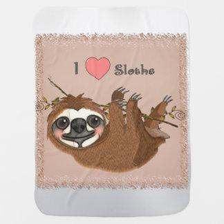 I Heart Sloths Baby Animals Stroller Blanket