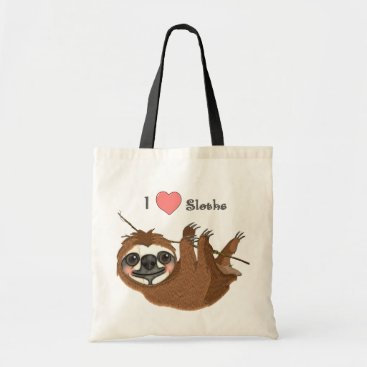 Valentines Themed I Heart Sloths Baby Animals Tote Bag