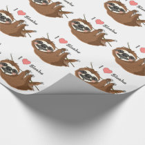 I Heart Sloths Baby Animals Wrapping Paper