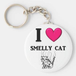 "I ""Heart"" Smelly Cat Basic Round Button Keychain"