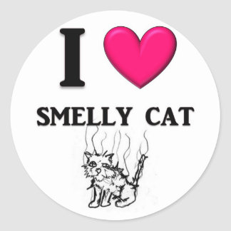 """I """"Heart"""" Smelly Cat Classic Round Sticker"""