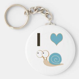 I heart snails - blue basic round button keychain