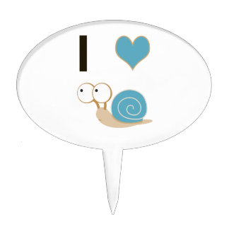 I heart snails - blue cake toppers