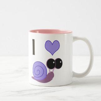I Heart Snails - periwinkle Two-Tone Coffee Mug