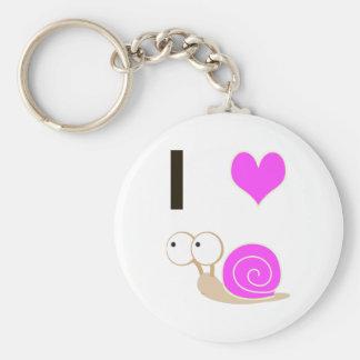 I heart Snails - Pink Basic Round Button Keychain