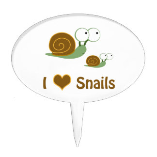 I Heart Snails- two cute snails Cake Topper