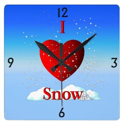 I Heart Snow Winter Snowfall Wall Clock