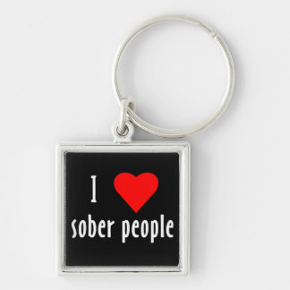I heart Sober People Silver-Colored Square Keychain