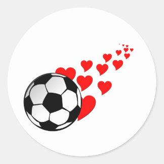 I heart soccer2 classic round sticker
