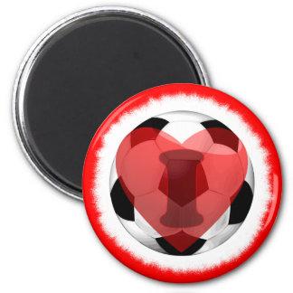 I heart Soccer 2 Inch Round Magnet