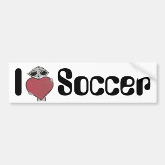 I Heart Soccer Alien Bumper Sticker
