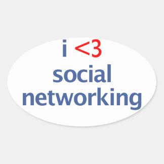 I Heart Social Networking Oval Sticker