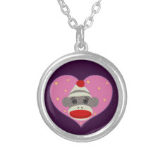 I Heart Sock Monkey Necklace at Zazzle