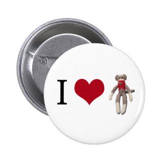 I Heart Sock Monkey Pinback Button