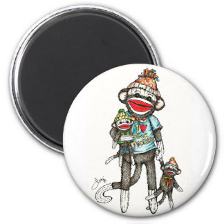 I Heart Sock Monkeys 2 Inch Round Magnet